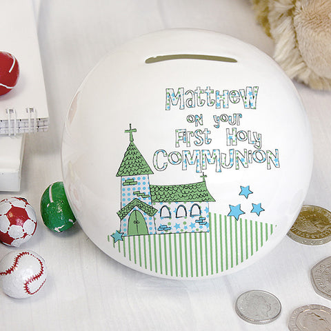 Personalised Whimsical Church Blue 1st Holy Communion Money Box