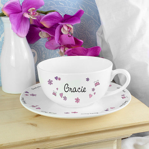 Personalised Flowers and Butterflies Teacup & Saucer
