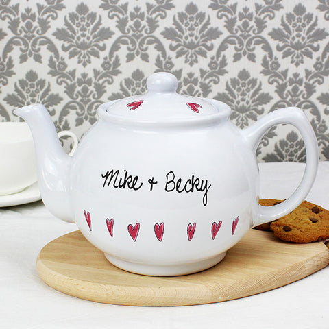 Personalised Hearts Teapot | ShaneToddGifts.co.uk