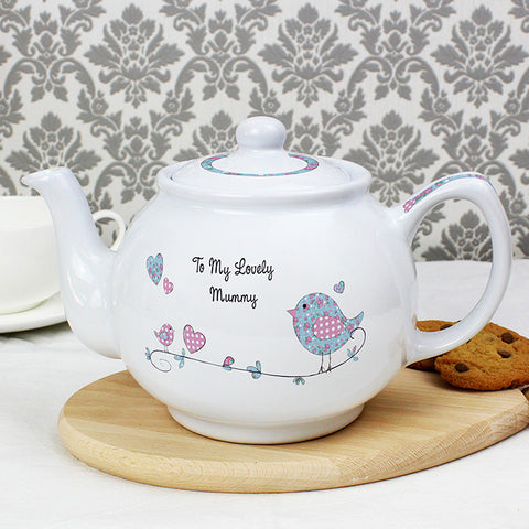 Personalised Floral Bird Teapot - Shane Todd Gifts UK