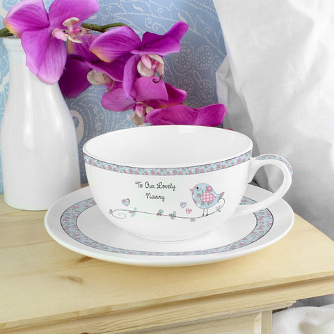 Personalised Floral Birds Teacup & Saucer - Shane Todd Gifts UK