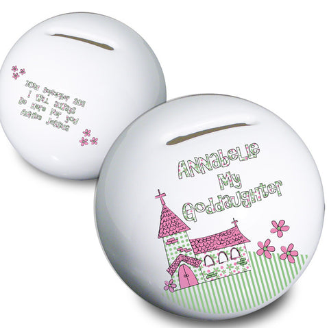 Buy Personalised Whimsical Church Goddaughter Money Box