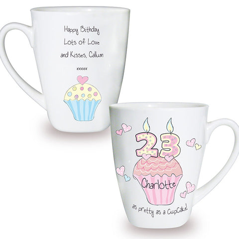 Buy Personalised Cupcake Numbers Latte Mug