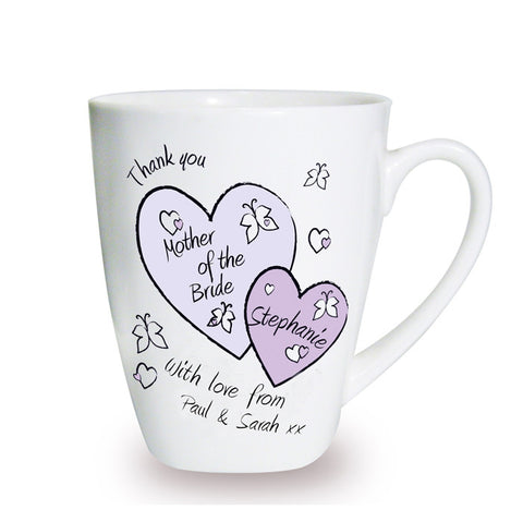 Buy Personalised Butterfly Hearts Wedding Latte Mug