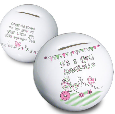 Buy Personalised WHimsical Pram Its a Girl Money Box