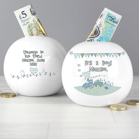 Buy Personalised Whimsical Train Money Box