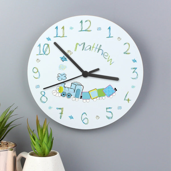 personalised-patchwork-train-clock