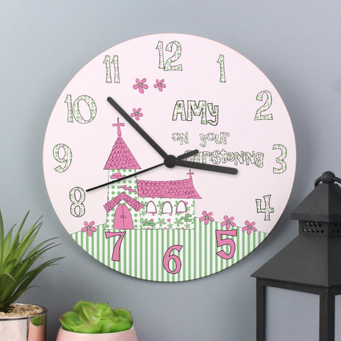 Buy Personalised Whimsical Church Christening Clock