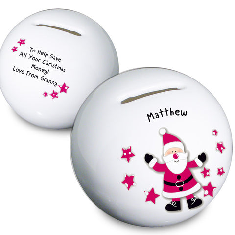 Personalised Spotty Santa Money Box - Shane Todd Gifts UK