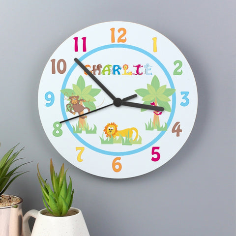 Buy Personalised Animal Alphabet Boys Clock