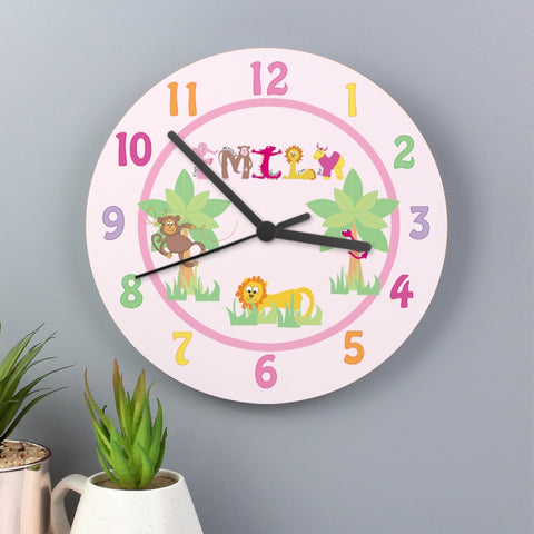 Buy Personalised Animal Alphabet Girls Clock