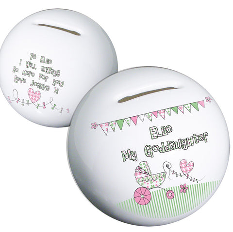 Buy Personalised Whimscial Pram Goddaughter Money Box