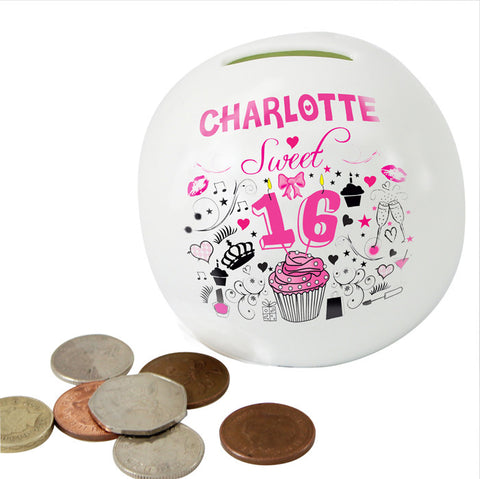 Buy Personalised Sweet 16 Money Box