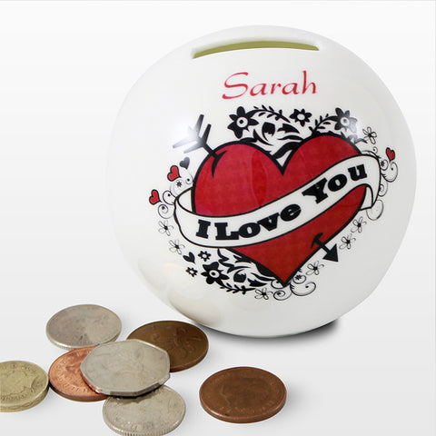 Buy Personalised I Love you Tattoo Money Box