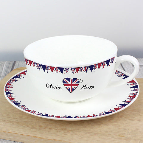 Personalised Union Jack Bunting Teacup & Saucer