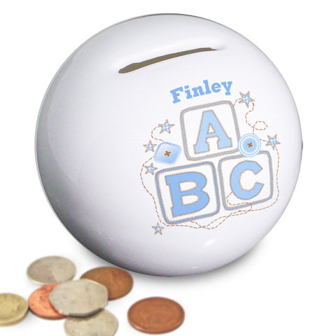 Buy Personalised Blue ABC Money Box