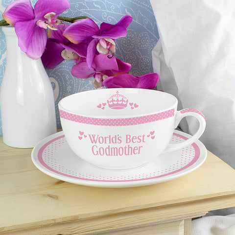 Buy Personalised Pink Worlds Best Teacup & Saucer
