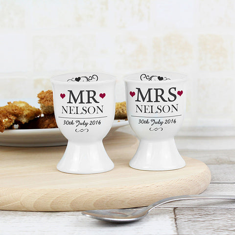 Buy Personalised Mr & Mrs Pair of Egg Cups