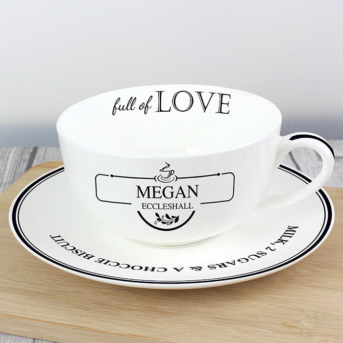 Personalised Full of Love Teacup & Saucer