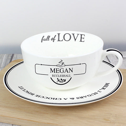 Personalised Full of Love Teacup & Saucer - Shane Todd Gifts UK