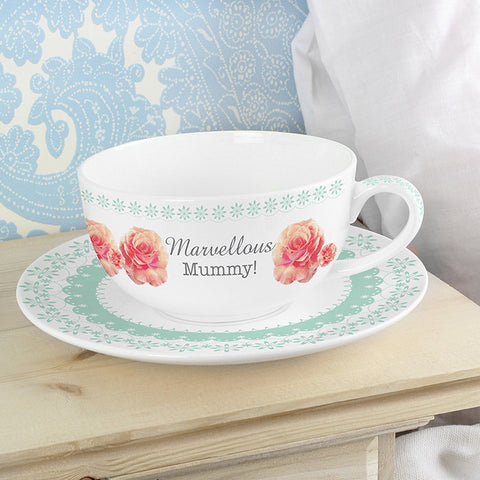 Personalised Vintage Rose Teacup & Saucer | ShaneToddGifts.co.uk