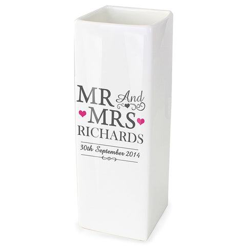 Buy Personalised Mr & Mrs White Square Vase