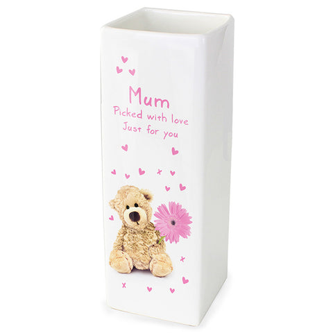 Buy Personalised Teddy Flower White Square Vase