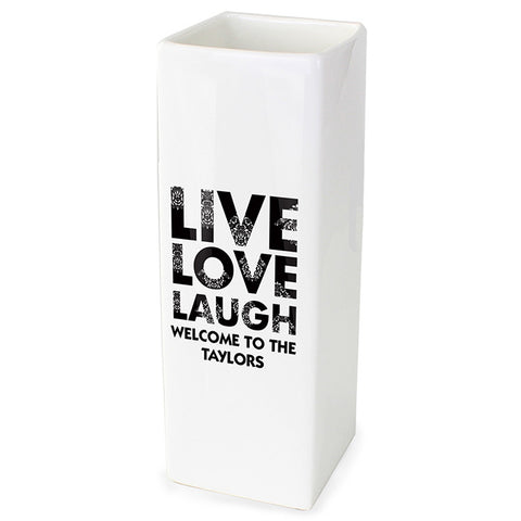 Buy Personalised Live Love Laugh White Square Vase