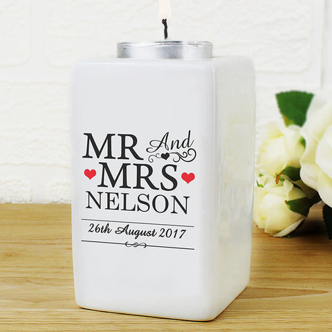 Personalised Mr & Mrs Ceramic Tea Light Candle Holder - Shane Todd Gifts UK
