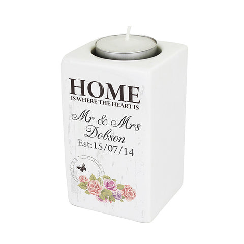 Personalised Shabby Chic Ceramic Tea Light Candle Holder