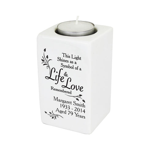 Personalised Loving Memory Ceramic Tea Light Candle Holder