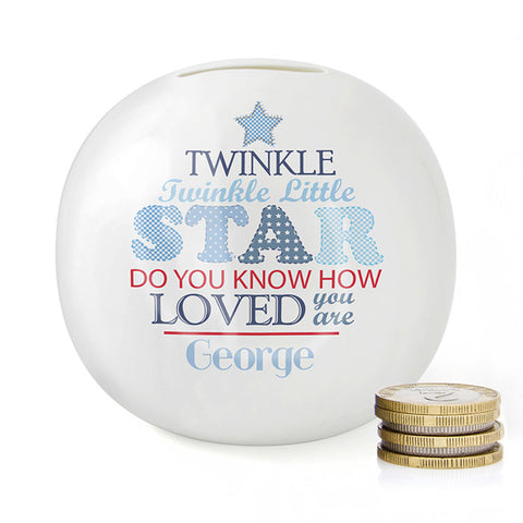 Buy Personalised Twinkle Boys Money Box