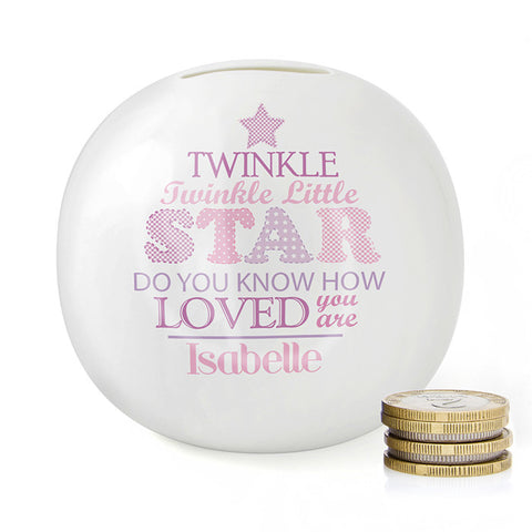 Buy Personalised Twinkle Girls Money Box