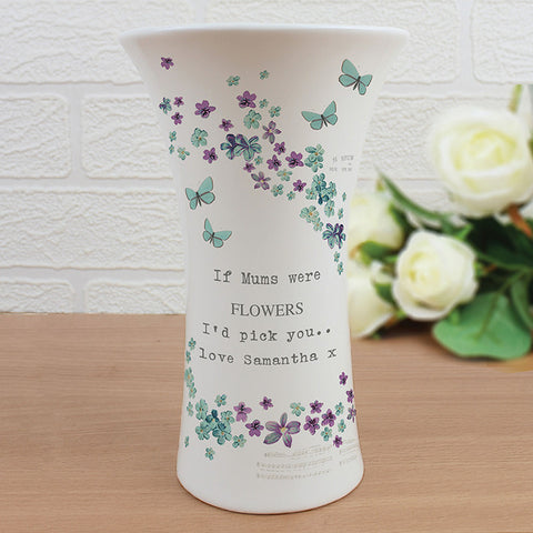 Personalised Forget me not Ceramic Waisted Vase