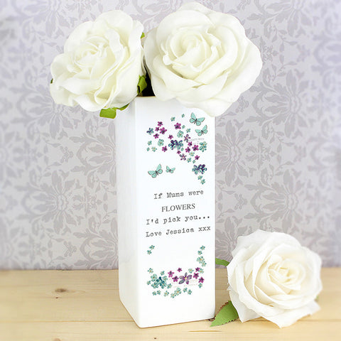 Buy Personalised Forget Me Not Square Vase