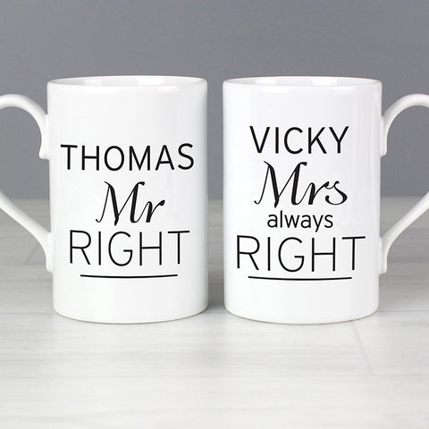 Buy Personalised Classic Mr Right/Mrs Always Right Mug Set