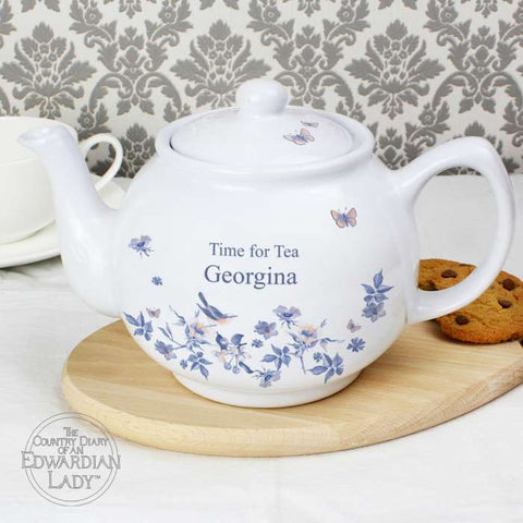 Personalised Country Diary Blue Blossom Teapot | ShaneToddGifts.co.uk