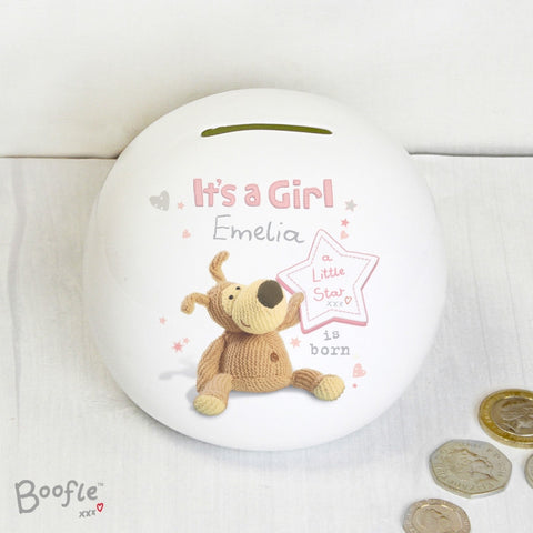 Buy Personalised Boofle It's a Girl Money Box