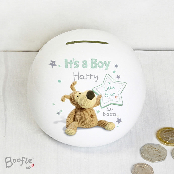 Personalised Boofle It's a Boy Money Box