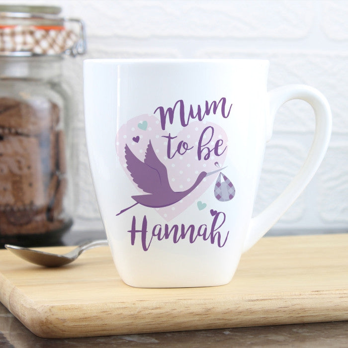 Personalised Mum to Be Stork Latte Mug