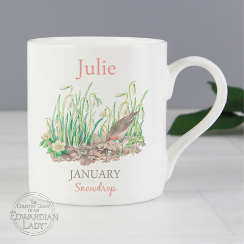 Personalised Country Diary 'January Flower Of The Month' Balmoral Mug - Shane Todd Gifts UK