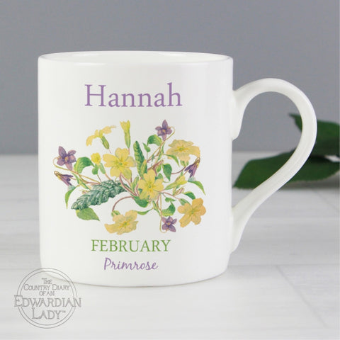 Personalised Country Diary 'February Flower Of The Month' Balmoral Mug - Shane Todd Gifts UK