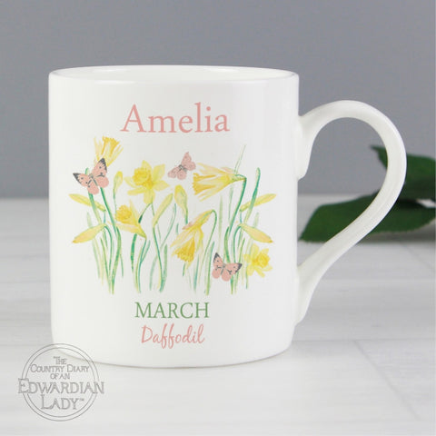 Personalised Country Diary 'March Flower Of The Month' Balmoral Mug - Shane Todd Gifts UK