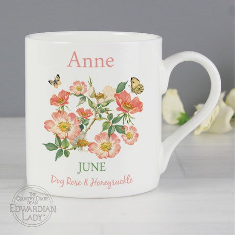 Buy Personalised Country Diary 'June Flower Of The Month' Balmoral Mug