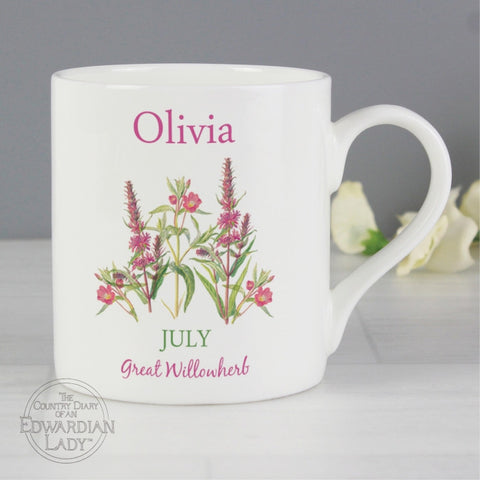 Personalised Country Diary 'July Flower Of The Month' Balmoral Mug - Shane Todd Gifts UK