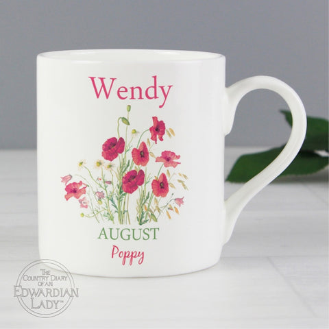 Personalised Country Diary 'August Flower Of The Month' Balmoral Mug - Shane Todd Gifts UK