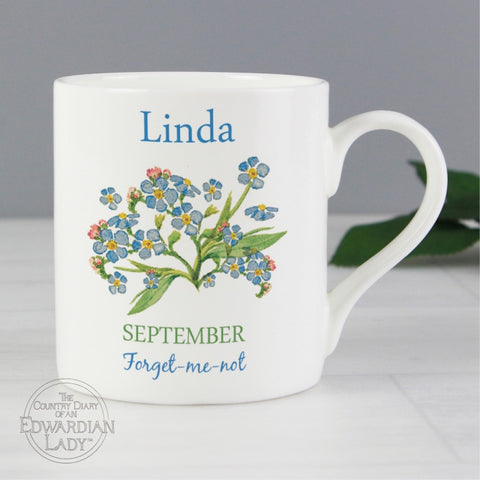 Personalised Country Diary 'September Flower Of The Month' Balmoral Mug - Shane Todd Gifts UK