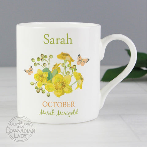 Personalised Country Diary 'October Flower Of The Month' Balmoral Mug - Shane Todd Gifts UK