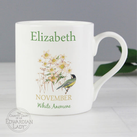 Buy Personalised Country Diary 'November Flower Of The Month' Balmoral Mug