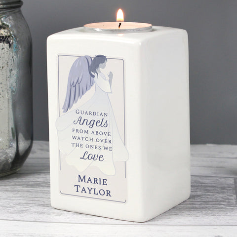 Personalised Guardian Angel Ceramic Tea Light Candle Holder